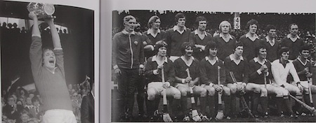 left: Cork captain, Martin O'Doherty raises the McCarthy Cup in 1977. .right: Cork-All-Ireland Hurling Champions 1977. Back row: Fr Troy, Mick Malone, Tim Crowley, Ray Cummins, J Barry Murphy, J Horgan, J Crowley, B Murphy, D Coughlan. Front Row: D McCurtain, G McCarthy, T Cashman, M O'Doherty (capt), S O'Leary, M Coleman, C McCarthy.