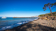 Prisoner's Harbor beach and pier, Santa Cruz Island, Channel Islands National Park, California USA