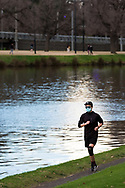 A man exercises along the Yarra during COVID-19 in Melbourne, Australia. Hotel quarantine linked to 99% of Victoria's COVID-19 cases, inquiry told. This comes amid a further 222 new cases being discovered along with 17 deaths. Melbourne continues to reel under Stage 4 restrictions with speculation that it will be extended. (Photo by Dave Hewison/Speed Media)