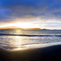 White Strand Panorama during Sunset with colourful sky, near Cahersiveen Co. Kerry, ireland / ch175