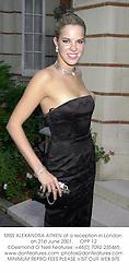 MISS ALEXANDRA AITKEN at a reception in London on 21st June 2001.<br />OPP 12