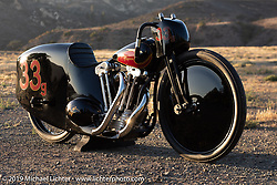 """The Petrali - Carlheim tribute bike was built by Justin Walls of BTTW (Built the Traditional Way) for Bobby Green of Old Crows Speed Shop from a 1948 big twin 80"""" UL Flathead Engine converted to overhead valves by Gus Carlhheim in the late 1940's for midget cars. The new bodywork hand fabricated by Justin is based on the original Joe Petrali land speed Knucklehead racer, although Justin improved both the design and the aerodynamics in his treatment. Photographed at the Born Free chopper show. Silverado, CA. USA. Sunday June 24, 2018. Photography ©2018 Michael Lichter.  Born Free chopper show. Silverado, CA. USA. Sunday June 24, 2018. Photography ©2018 Michael Lichter."""