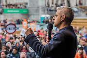 The Mayor Sadiq Khan speaks to the crowd in Trafalgar Square - #March4Women 2018, a march and rally in London to celebrate International Women's Day and 100 years since the first women in the UK gained the right to vote.  Organised by Care International the march stated at Old Palace Yard and ended in a rally in Trafalgar Square.