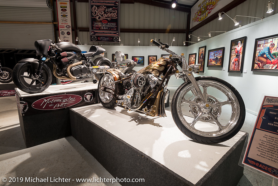 """Ken Kenji Nagai blower bike in the """"Built for Speed"""" exhibition curated by Michael Lichter and Paul D'Orleans in the Russ Brown Events Center as part of the annual """"Motorcycles as Art"""" series at the Sturgis Buffalo Chip during the Black Hills Motorcycle Rally. SD, USA. August 5, 2014.  Photography ©2014 Michael Lichter."""