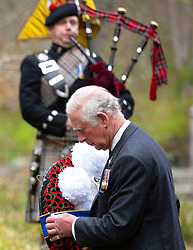 Prince Charles and Camilla, Duchess of Cornwall, take part in a two minute silence to mark the 75th anniversary of VE Day at the Balmoral War Memorial in Ballater, Aberdeenshire, UK, on the 8th May 2020. Picture by: Amy Muir/WPA-Pool. 08 May 2020 Pictured: Prince Charles, Prince of Wales. Photo credit: MEGA TheMegaAgency.com +1 888 505 6342