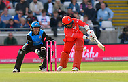 Wicket - Arron Lilley of Lancashire is trapped lbw by Moeen Ali of Worcestershire during the Vitality T20 Finals Day Semi Final 2018 match between Worcestershire Rapids and Lancashire Lightning at Edgbaston, Birmingham, United Kingdom on 15 September 2018.