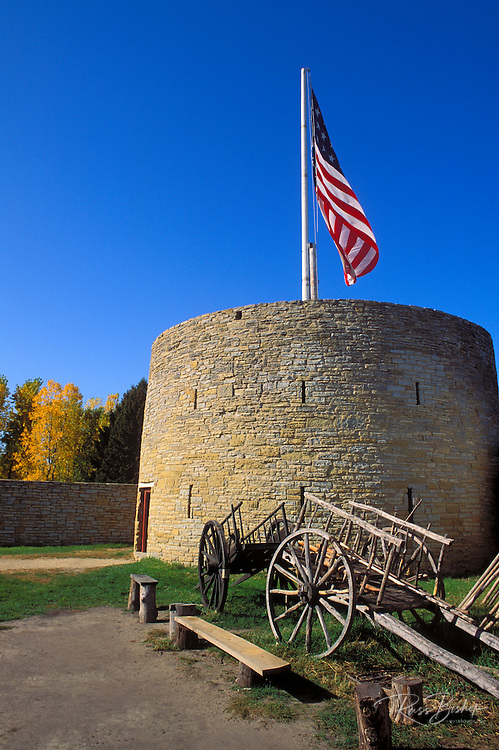 Guard tower and wooden carts at Fort Snelling,  Fort Snelling State Park, Minneapolis, Minnesota