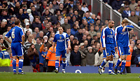 Photo: Daniel Hambury.<br />Arsenal v Cardiff City. The FA Cup. 07/01/2006.<br />Cardiff's L-R<br />Neil Cox, Darren Pures, Jeff Whitley and Glenn Loovens look gutted after they concede a second goal.
