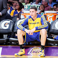 11 April 2014: Golden State Warriors guard Klay Thompson (11) is seen on the bench during the Golden State Warriors 112-95 victory over the Los Angeles Lakers at the Staples Center, Los Angeles, California, USA.