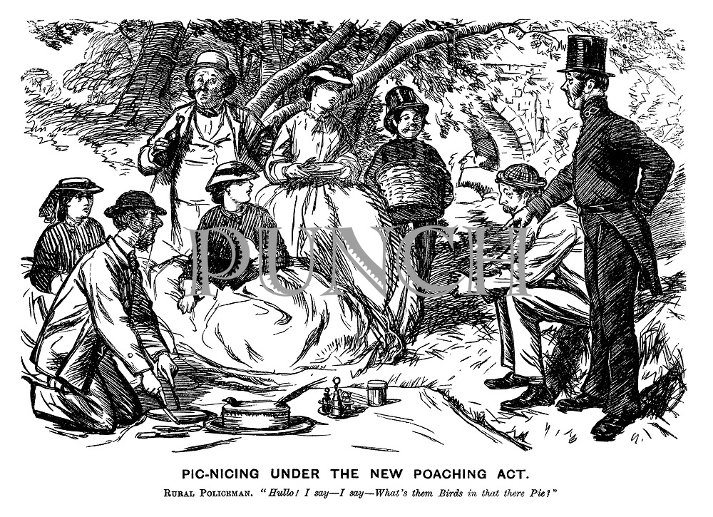 """Picnicing Under the New Poaching Act. Rural policeman. """"Hullo! I say — I say — What's them birds in that there pie?"""""""