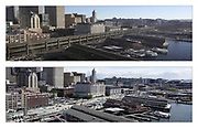 Top: The permanently closed viaduct, with Smith Tower in the background, is seen from the Seattle Great Wheel on Sunday, Jan. 13, 2019, about 18 hours before the city was tested with its first morning rush hour without the highway. (Ken Lambert / The Seattle Times)<br /> <br /> Bottom: Progress on taking down the viaduct is seen from atop the Seattle Great Wheel, looking south of University Street, with the Smith Tower in the background at center, on Sunday, May 19, 2019. <br /> <br /> (Ken Lambert / The Seattle Times)