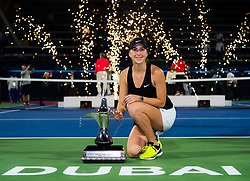 February 23, 2019 - Dubai, ARAB EMIRATES - Belinda Bencic of Switzerland poses with her champions trophy after winning the final of the 2019 Dubai Duty Free Tennis Championships WTA Premier 5 tennis tournament (Credit Image: © AFP7 via ZUMA Wire)