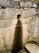 The Royal Fountain at the Incan ruins of Machu Picchu, near Aguas Calientes, Peru.