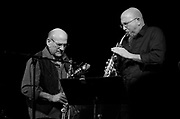 """Legendary saxophonist David Liebman trades solos with the great Jeff Coffin during their tribute performance to Miles Davis's """"On the Corner"""" sessions in Nashville, TN."""