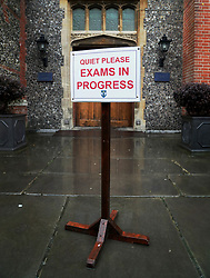 An exam notice as students sit their GCSE mock exams at Brighton College in Brighton, East Sussex.
