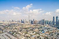 Panoramic aerial view of skyscrapers of Dubai, U.A.E.