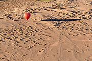 Aerial view of a hot air balloon flying over desert, Atacama Desert, Chile