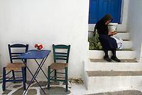 Grece, les Cyclades, ile de Amorgos, village de Langada // Greece, Cyclades islands, Amorgos, Katapola bay, Langada village