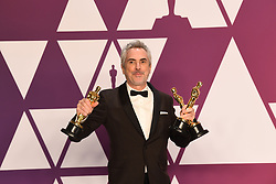 """Alfonso Cuaron, winner of the Best Director Award, Best Foreign Film Award and Best Cinematography Award for """"Roma"""" at the 91st Annual Academy Awards (Oscars) presented by the Academy of Motion Picture Arts and Sciences.<br /> (Hollywood, CA, USA)"""