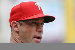 May 6, 2018 - Washington, DC, U.S. - WASHINGTON, DC - MAY 06:  Philadelphia Phillies manager Gabe Kapler (22) stands in the dugout during the game between the Philadelphia Phillies  and the Washington Nationals on May 6, 2018, at Nationals Park, in Washington D.C.  The Washington Nationals defeated the Philadelphia Phillies, 5-4.  (Photo by Mark Goldman/Icon Sportswire) (Credit Image: © Mark Goldman/Icon SMI via ZUMA Press)