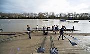 Putney, London,  Tideway Week, Championship Course. River Thames, OUWBC and CUWBC, Boating outside Thames RC, <br /> <br />  Saturday  01/04/2017<br /> <br /> [Mandatory Credit; Credit: Peter SPURRIER/Intersport Images.com ]
