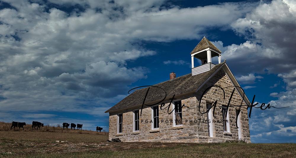 An 1800's school house, along Route 4 in the Flint Hills of Kansas.