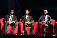 04 June 2011: 2011 Player Ballot Inductees (from left): Eddie Pope, Cobi Jones, and Earnie Stewart. The 2011 National Soccer Hall of Fame Induction Ceremony was held at Showcase Live! at Patriot Place next to Gillette Stadium in Foxborough, Massachusetts before an international friendly soccer match.