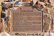 State historic landmark plaque at the entrance to Manzanar War Relocation Center (National Historic Site), Owen's Valley, California