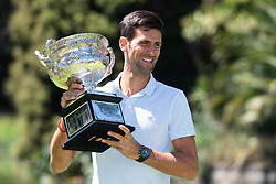 MELBOURNE, Jan. 28, 2019  2019 Australian Open Champion, Novak Djokovic of Serbia, poses for photographs with the Championship trophy (Norman Brookes Challenge Cup) at the Royal Botanical Gardens in Melbourne, Australia on Jan. 28, 2019. (Credit Image: © Elizabeth Xue Bai/Xinhua via ZUMA Wire)