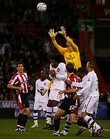 Photo: Steve Bond.<br /> Sheffield United v Arsenal. Carling Cup. 31/10/2007. Keeper Lukasz Fabianski safely gathers a cross