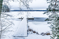 A jetty leads to an ice-hole made for winter swimming in Lake Päijänne – Finland's second largest lake.