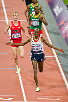 LONDON OLYMPIC GAMES 2012 - OLYMPIC STADIUM , LONDON (ENG) - 04/08/2012 - PHOTO : VINCENT CURUTCHET / KMSP / DPPI<br /> ATHLETICS - MEN 10000M - MOHAMED FARAH (GBR) / WINNER GOLD MEDAL AND GALEN RUPP (USA) / SILVER