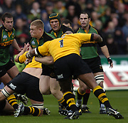 Northampton, Northamptonshire, 2nd October 2004 Northampton Saints vs London Wasps, Zurich Premiership Rugby, Franklyn Gardens, [Mandatory Credit: Peter Spurrier/Intersport Images],<br /> Saints Darren Fox collects the loose ball and runs through the gap.