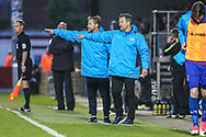 Forest Green Rovers manager, Mark Cooper and Forest Green Rovers assistant manager, Scott Lindsey during the Vanarama National League first leg play off match between Dagenham and Redbridge and Forest Green Rovers at the London Borough of Barking and Dagenham Stadium, London, England on 4 May 2017. Photo by Shane Healey.