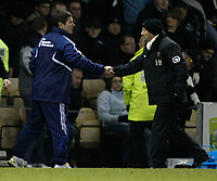 Photo: Steve Bond/Richard Lane Photography. Derby County v Blackpool. Coca-Cola Championship. 26/12/2009. Managers Nigel Clough (L) and Ian Holloway (R) shake hands at the end of the match
