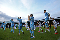 Port Vale and Coventry City emerge from the players tunnel during the match at Vale Park