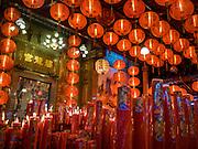 17 FEBRUARY 2016 - BANGKOK, THAILAND: Chinese New Year lanterns hanging in Pek Leng Keng Mangkorn Khiew Shrine in the Khlong Toei slum in Bangkok.      PHOTO BY JACK KURTZ