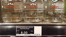 Italy, Milan - October 9, 2018.October 9, 2018.Limited-edition of Evian mineral bottle  (750 ml) with the signature of Chiara Ferragni  for sale at 8 Euros (Credit Image: © Maule/Fotogramma/Ropi via ZUMA Press)