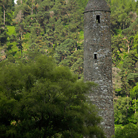 Europe, Ireland, Glendalough. Round Tower at the Monastic site of St. Kevin in Glendalough.