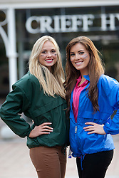 Miss England Alize Lily Mounter with Miss Ireland Holly Carpenter (blue jacket)..The Miss World 2011 contestants in the grounds of Crieff Hydro, Perthshire..MISS WORLD 2011 VISITS SCOTLAND..Pic © Michael Schofield.