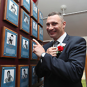 CANASTOTA, NY - JUNE 10:  2018 inductee Vitali Klitschko poses with his plaque prior to the 2018 induction ceremony at the International Boxing Hall of Fame for the Weekend of Champions event on June 10, 2018 in Canastota, New York. (Photo by Alex Menendez/Getty Images) *** Local Caption *** Vitali Klitschko