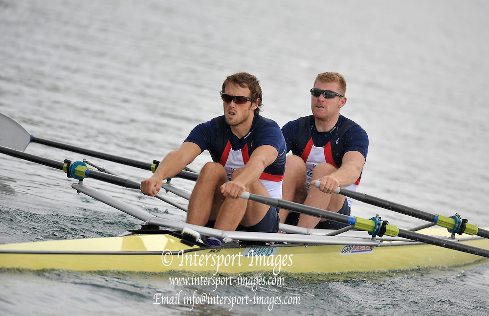 Munich GERMANY,   GBR M2X Bow, Matt WELLS and Steve ROWBOTHAM, at the 2nd Round FISA World cup on the Olympic Rowing Course Munich, Friday 19/06/2009, [Mandatory Credit. Peter Spurrier/Intersport Images]