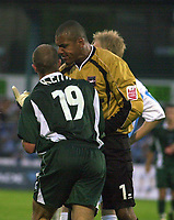 Photo:Alan Crowhurst.<br />.Brighton v Plymouth,10/08/2004,Coca Cola Championship.Michel Kuipers accuses Marino Keith of diving and winning a penalty.