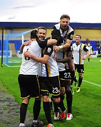 Bristol Rovers celebrate Bristol Rovers' Tom Parkes goal - Photo mandatory by-line: Neil Brookman/JMP - Mobile: 07966 386802 - 22/11/2014 - Sport - Football - Chester - Deva Stadium - Chester v Bristol Rovers - Vanarama Football Conference