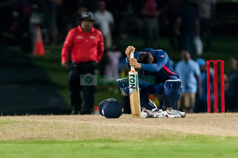 September 22, 2018 - Morrisville, North Carolina, US - Sept. 22, 2018 - Morrisville N.C., USA - Team USA JASKARAN MALHA (4) contemplates the Super Over loss during the ICC World T20 America's ''A'' Qualifier cricket match between USA and Canada. Both teams played to a 140/8 tie with Canada winning the Super Over for the overall win. In addition to USA and Canada, the ICC World T20 America's ''A'' Qualifier also features Belize and Panama in the six-day tournament that ends Sept. 26. (Credit Image: © Timothy L. Hale/ZUMA Wire)
