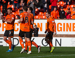 Dundee United's Paul McMullan cele scoring their third goal. half time : Dundee United 3 v 0 Morton, Scottish Championship game played 28/9/2019 at Dundee United's stadium Tannadice Park.