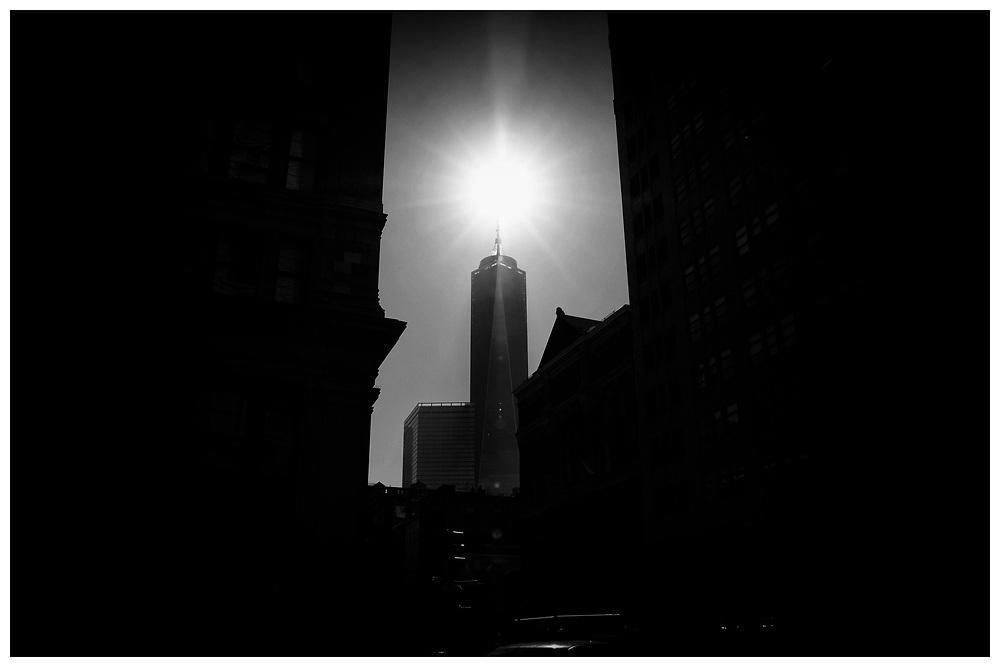 Sun over World Trade Center in Manhattan, New York