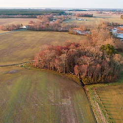 Drone view of fields, forests, and wetlands in Church Creek, Maryland. Spring.