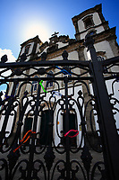 wish ribbons attach at the gate of the bonfim church in the beautiful city of salvador in bahia state brazil