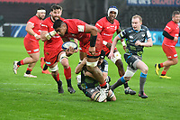 Rugby Union - 2019 / 2020 European Rugby Heineken Champions Cup - Pool Four: Ospreys vs. Saracens<br /> <br /> Will Skelton of Saracens tackled by Dan Evans of Ospreys, at the Liberty Stadium.<br /> <br /> COLORSPORT/WINSTON BYNORTH